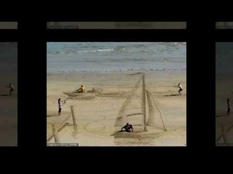 New Zealand artists creating 3D painting on the beach, New Zealand, 3D Painting, 3D Beach Painting