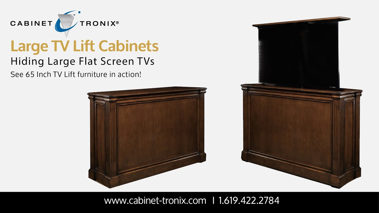 tv lift cabinets for 65 inch flat screen tvs and larger - Tv Lift Cabinet