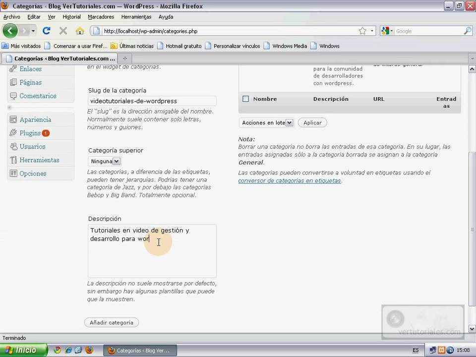 WordPress - Añadir y editar categoría - YouTube