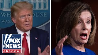 Trump attacks Pelosi on her own coronavirus response in press briefing