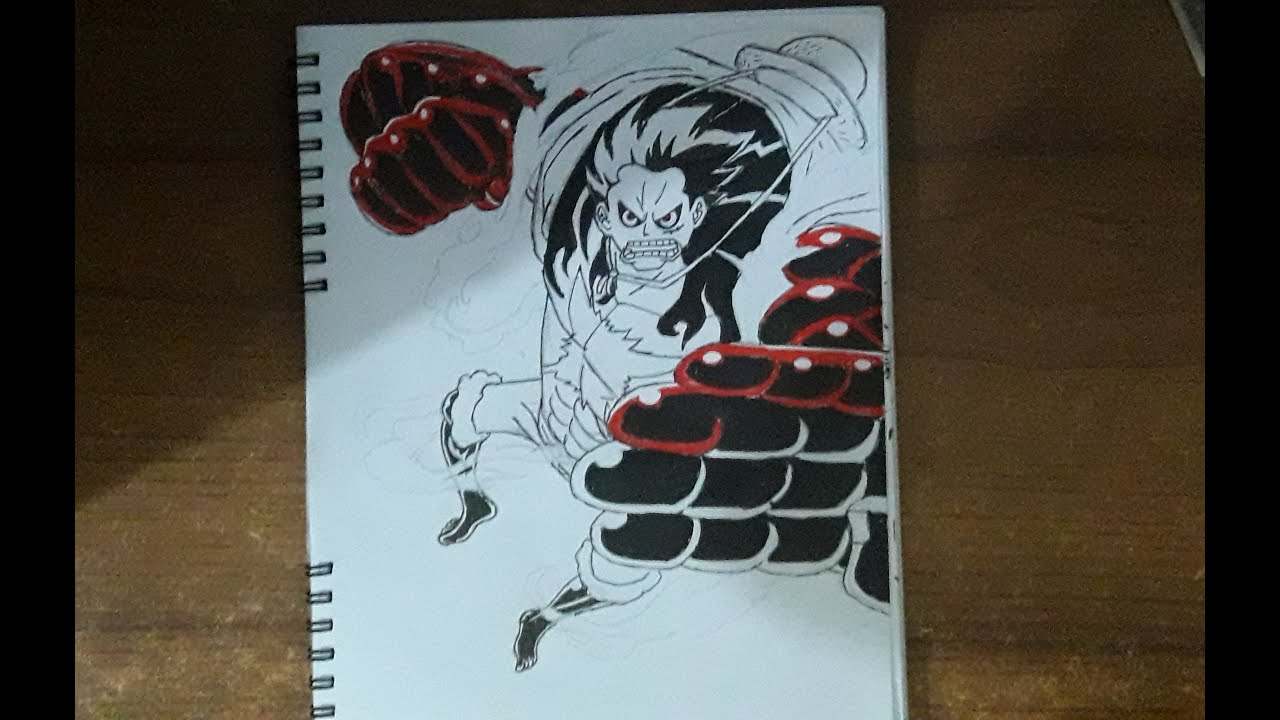 Luffy coats his arm in busoshoku haki before biting into his forearm. MONKEY. D. LUFFY gear 4th drawing - YouTube