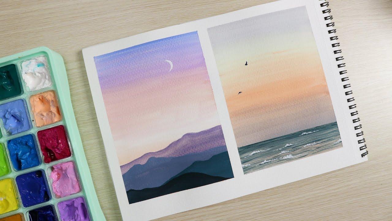 ART#50 |Tranh phong cảnh với tông màu pastel| Tutorial for beginners| Landscape| HIMI Gouache
