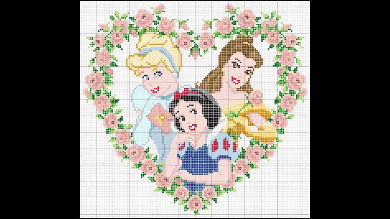 Patrones para punto de cruz especial Princesas I | Aprende a hacer ...