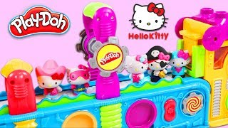 Hello Kitty Characters Visit Magic Play Doh Mega Fun Factory Playset to Get Surprise Toys!