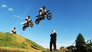 JUMPING GRANDMA WITH DIRT BIKES