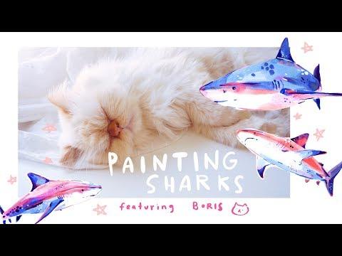 Painting Sharks Ft. Boris the cat