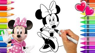 Minnie Mouse Beautiful Dress Coloring Page | Glitter Art | Mickey Mouse Clubhouse Coloring Book