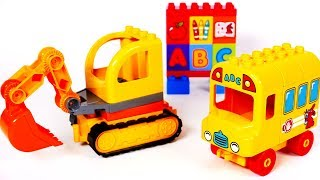 Learn Colors with Lego Excavator and School Bus Playset for Kids | Yippee Toys Video