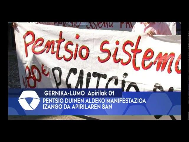 PENTSIO DUINEN ALDEKO MANIFESTAZIOA IZANGO DA APIRILAREN 8AN