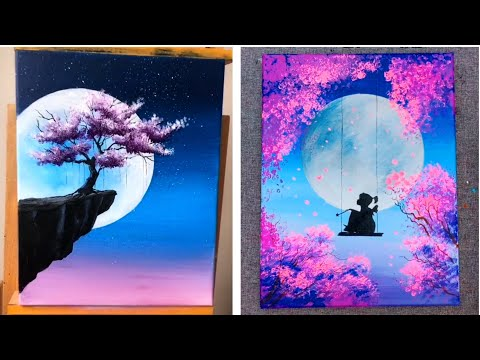 10 Super Easy Painting Ideas For Beginners - Moonlight Cherry Blossom Painting Ideas