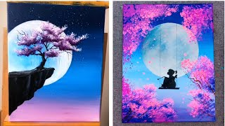 Amazing arts - 10 Super Easy Painting Ideas For Beginners - Moonlight Cherry Blossom Painting Ideas - VIDEOOO
