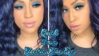 QUICK 5 MIN ELECTRIC BLUE EYE MAKEUP TUTORIAL - MORPHE 35b & 35O2