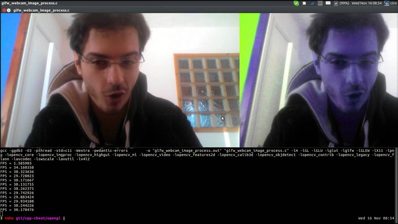 OpenGL GPU GLSL fragment shader real time v4l2 Linux webcam computer vision  box blur vs CPU
