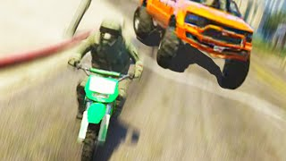 GTA 5 Funny Moments - Bikes vs Monster Trucks (GTA V Online Gameplay)