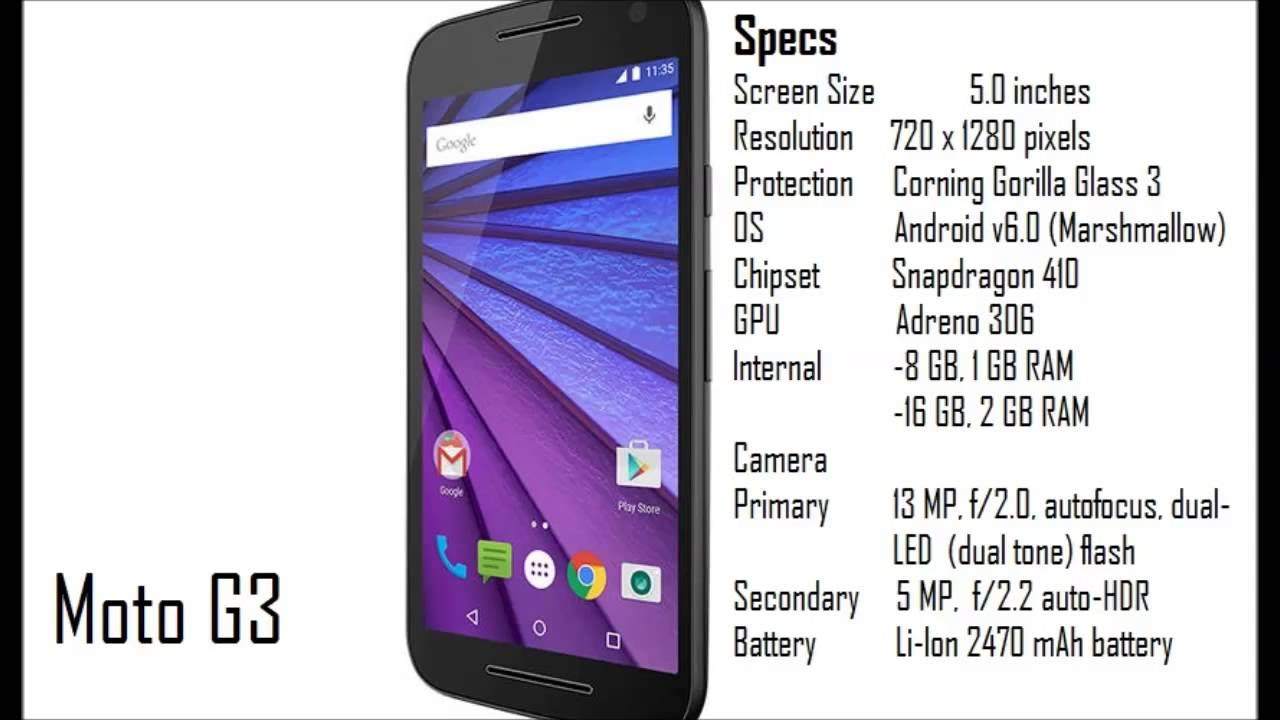 Moto G3 Specification and features