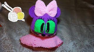 Как связать шапочку-шлем для девочки. Вязание крючком.