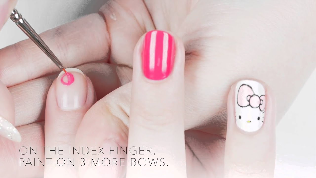 Hello Kitty By Opi Hello Kitty Bows Nail Art Tutorial Youtube