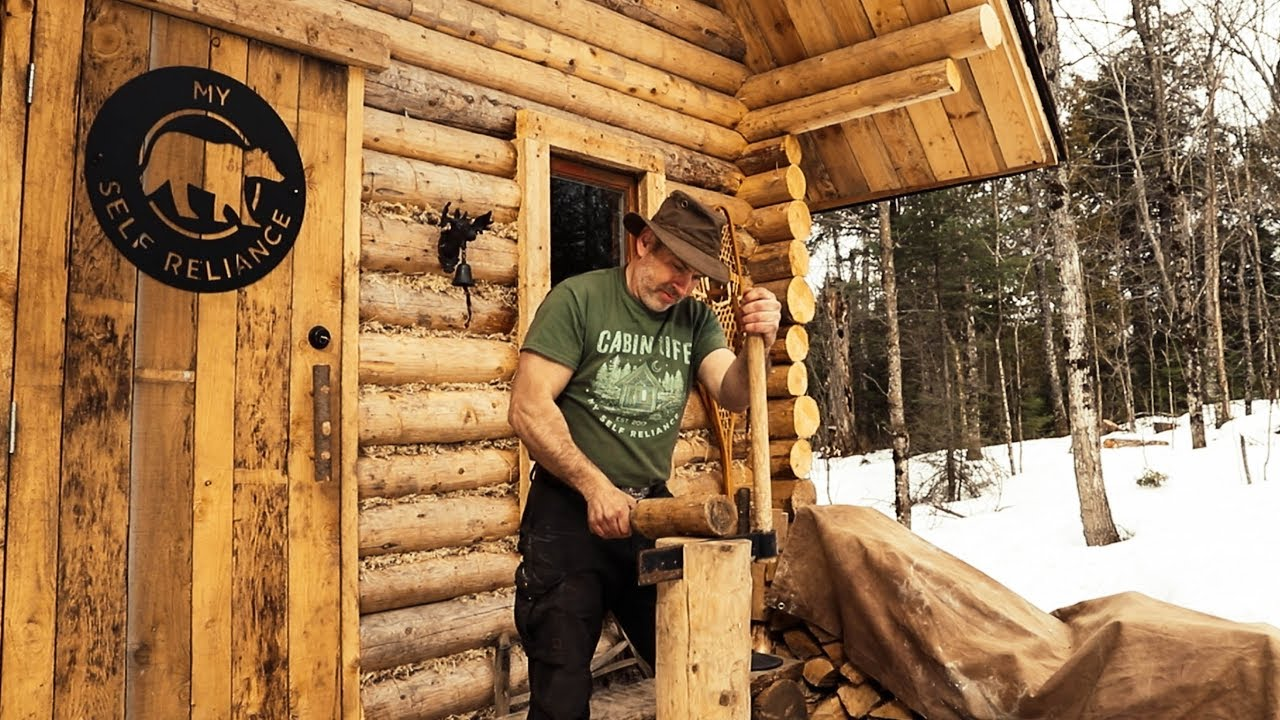 traditional-woodworking-finishing-the-interior-of-a-log-cabin-with-hand-tools-diy