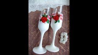 Оформление бокалов для свадьбы в бело-красном цвете мк/свадебные бокалы своими руками