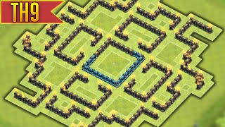Clash of Clans - EPIC Townhall 9 Labyrinth Farming BASE! w/ Air Sweeper!