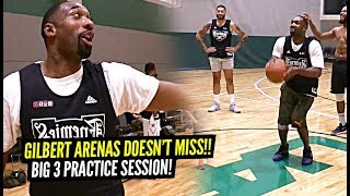 Gilbert Arenas DOESN'T MISS From HALF COURT!! Trash Talking Big 3 Practice Session!!
