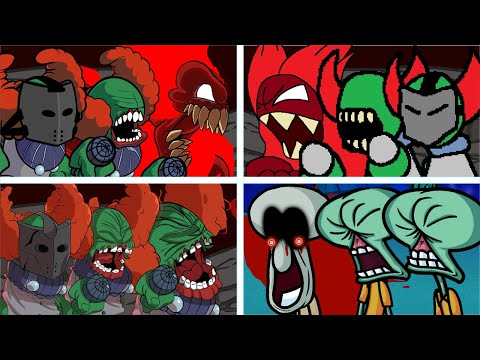 Tricky Original Vs HD Vs Bad Mod Vs Squidward - Friday Night Funkin'