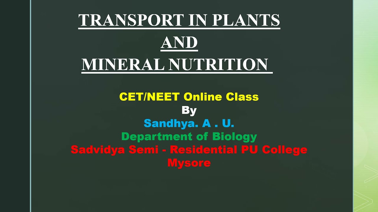 I PUC   BIOLOGY   CET/ NEET   TRANSPORT IN PLANTS AND MINERAL NUTRITION