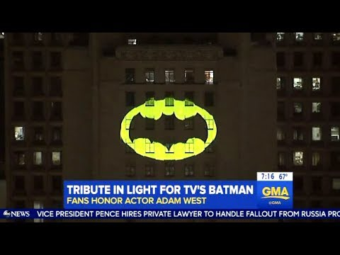 Adam West Tribute In L.A.  (Bat Signal)