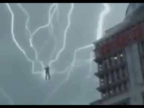Humanoid Figure Using Lightning strikes for Energy by Pearl Tower, Shanghai.China