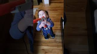 Baby shoots mama with toy gun : Play Time Fun