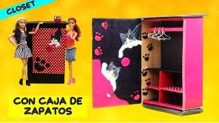Como Hacer Ropero de Barbie con una Caja de Zapatos inspirado en mi Gata Pandita!!🐱 FACIL!