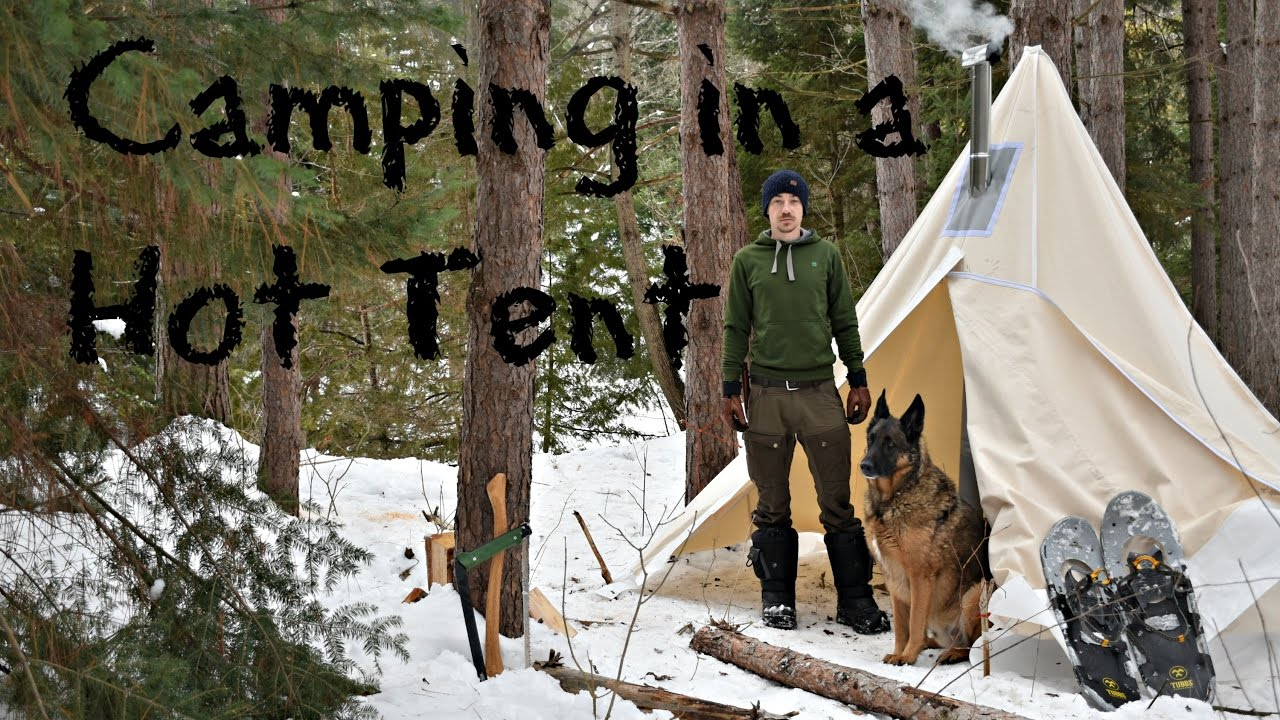 & Winter Camping in a Canvas Tent with a Dog and a Woodstove. - YouTube