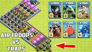 Who Can Survive This Difficult Trap on COC? Trap VS Troops #34