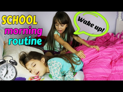 SCHOOL MORNING ROUTINE! Get ready with us!  Funny Family Routine - TwoSistersToyStyle