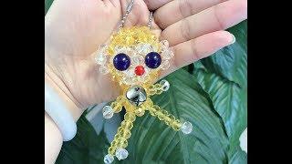 DIY kawaii bead monkey keychain 水晶串珠教学 可爱的水晶猴子挂饰