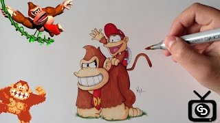 How to Draw Donkey Kong and Diddy Kong - Nintendo