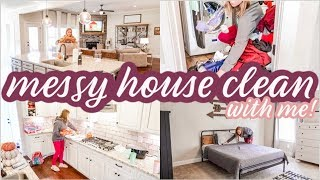 SUPER MESSY [ALMOST] WHOLE HOUSE CLEAN WITH ME | DOING THE MOST | MESSY HOUSE TRANSFORMATION | SAHM