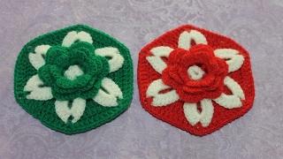 Шестиугольный мотив с объемным цветком крючком. Crochet Hexagon Motif with a Flower.