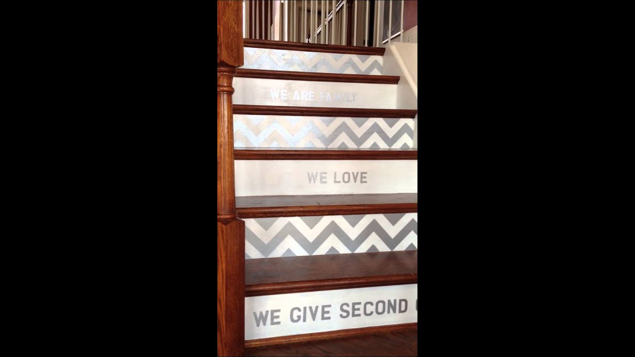Painted Stair Risers With Chevronu0027s And Family Message