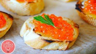 How to make Caviar Canapes - Бутерброды с икрой