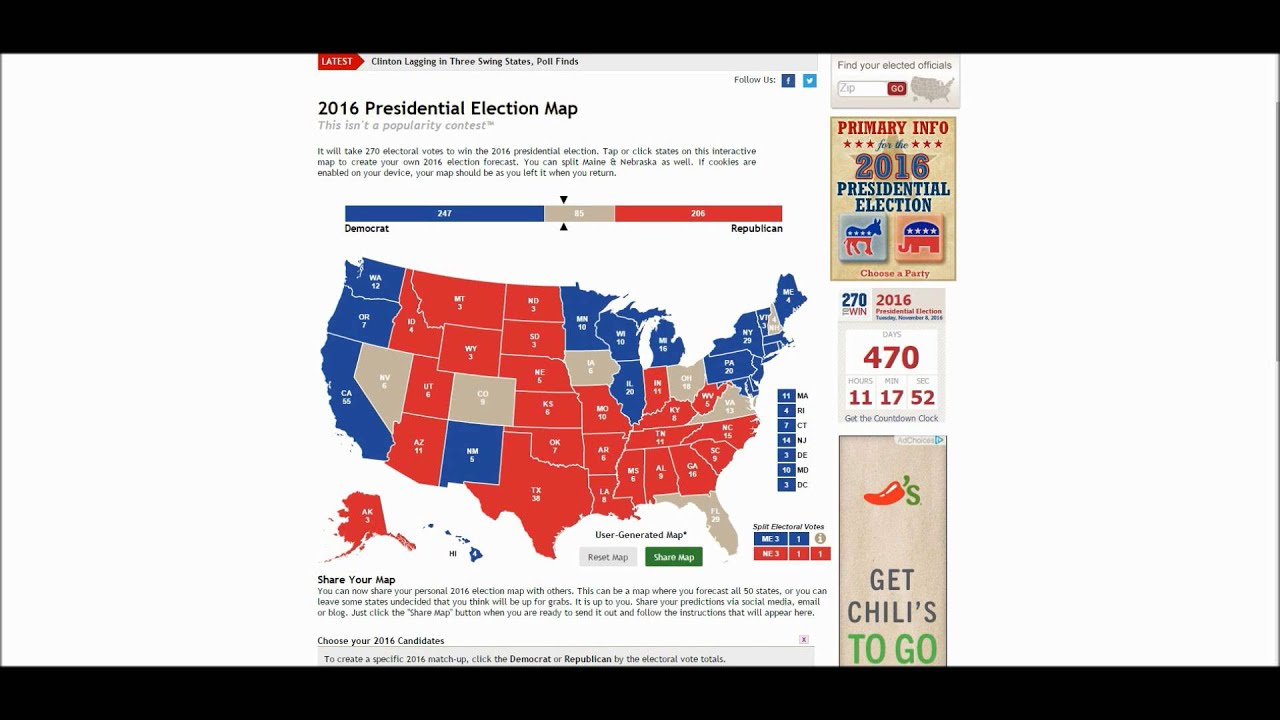 2016 Presidential Race Electoral Map YouTube