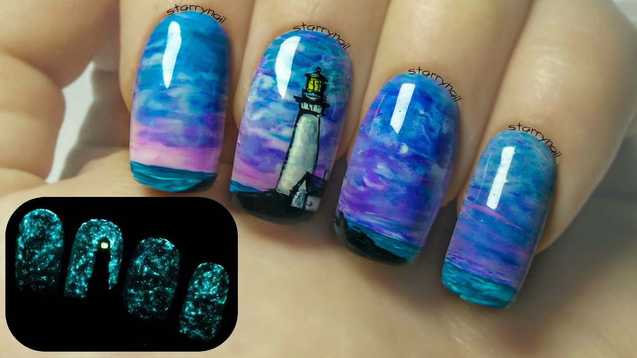 Lighthouse ⎮ Glow in the Dark Freehand Nail Art Tutorial - YouTube