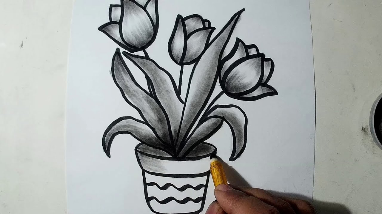 How to Draw A Flower Pot || Charcoal Drawing and Shading ...
