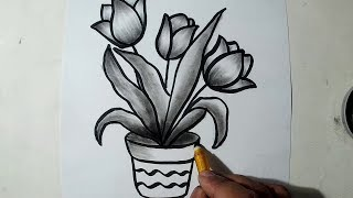 How to Draw A Flower Pot || Charcoal Drawing and Shading