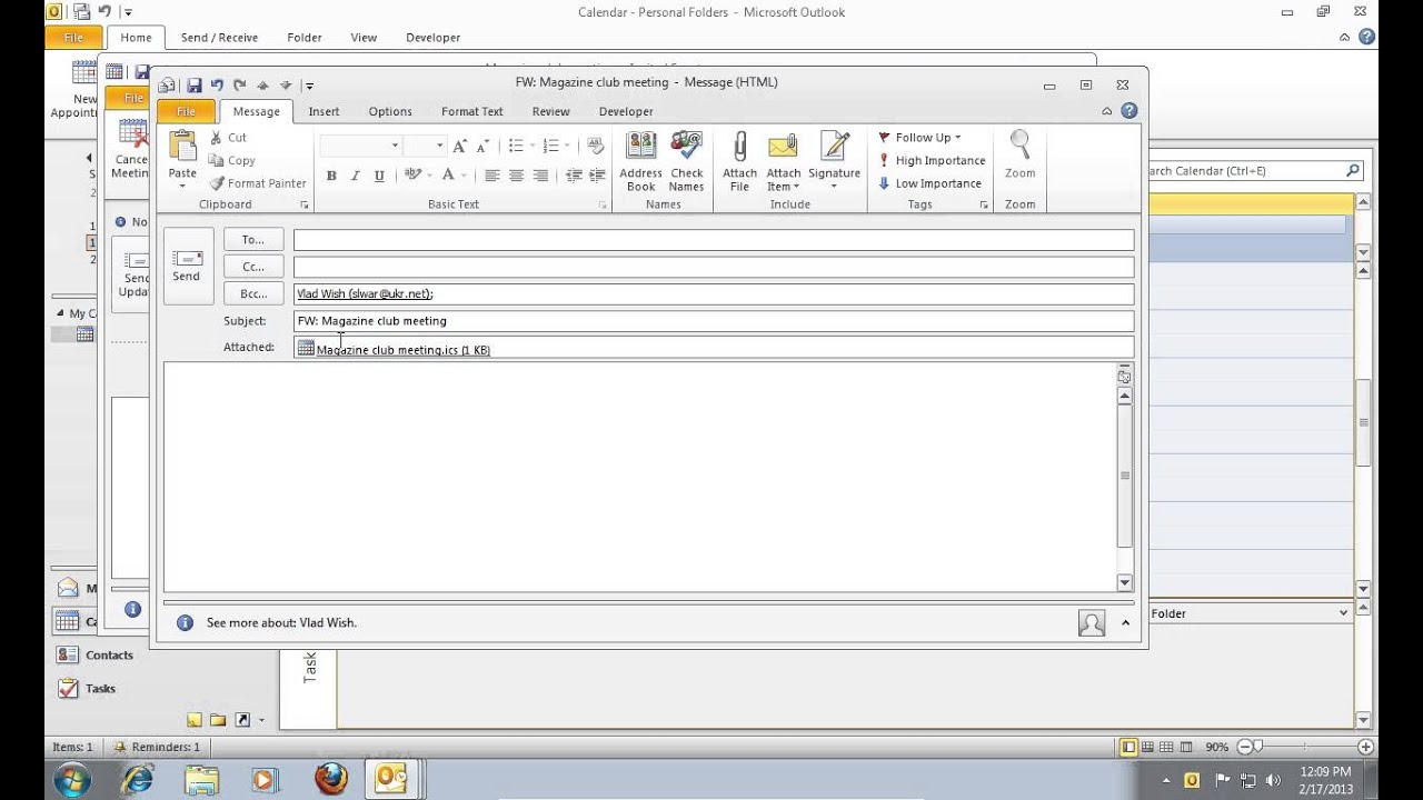 How To Make A Calendar Invite In Outlook How To Add Bcc In Outlook Calendar Invite Video Tutorial How To Add Bcc In An Outlook 2010 Calendar Invite Youtube