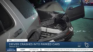 Driver slams into several parked vehicles in Emerald Hills