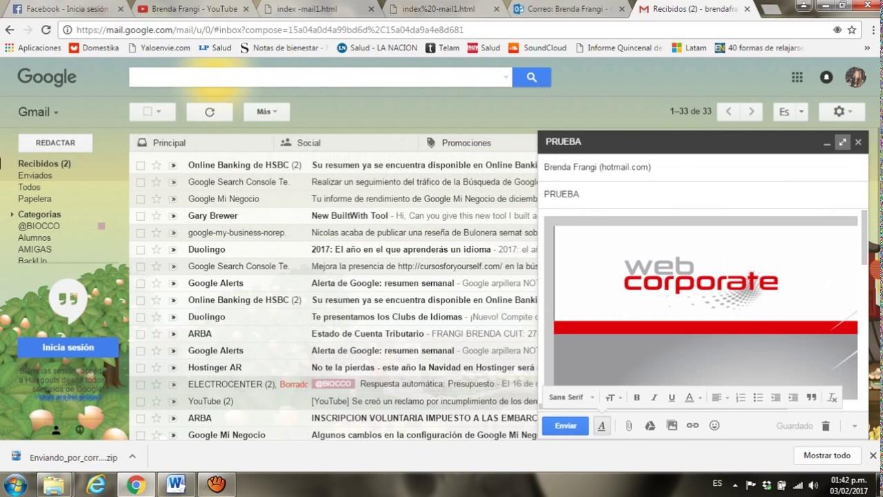 Mandar Archivo HTML por GMAIL - YouTube