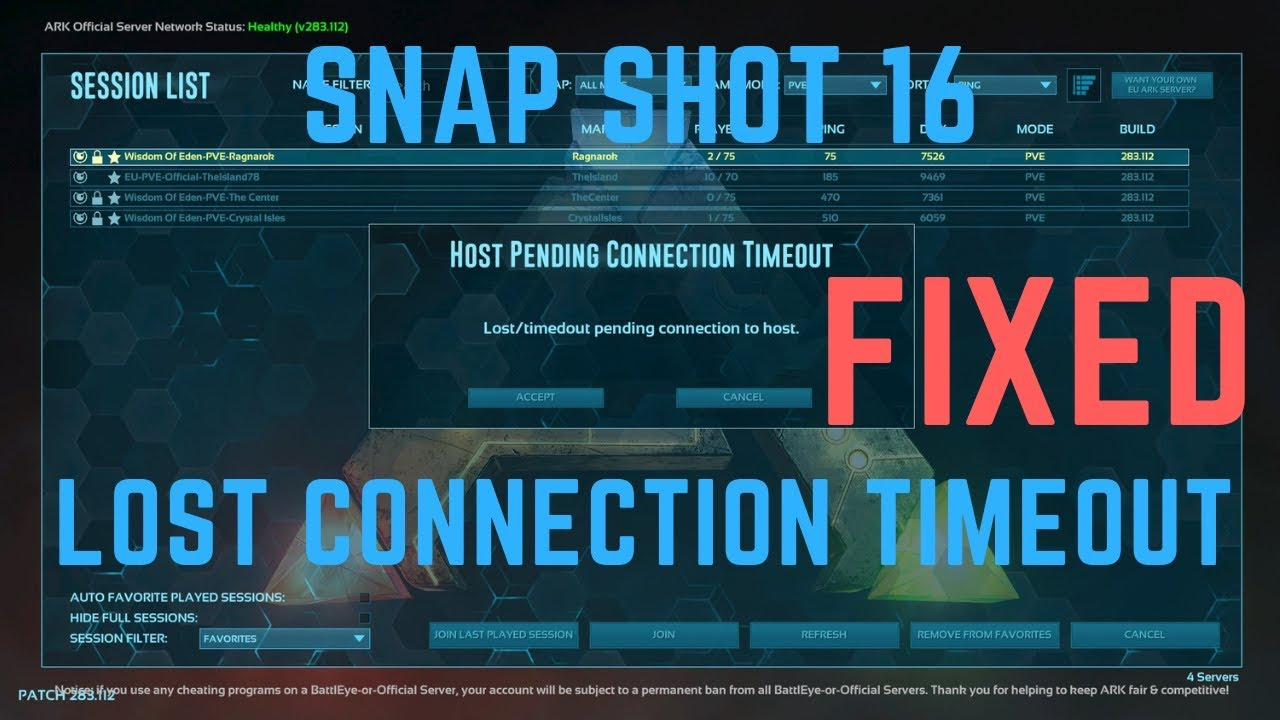 Ark : Survival Evolved - SnapShot 16 / Lost Connection Timeout FIXED