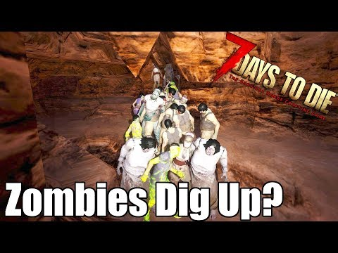 7 Days to Die - Can Zombies Dig UP Out of a Hole? Zombie Pathfinding (Alpha 17.1)