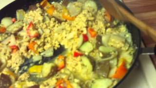 Scrambled Eggs With Onions, Bell Peppers And Potatoes